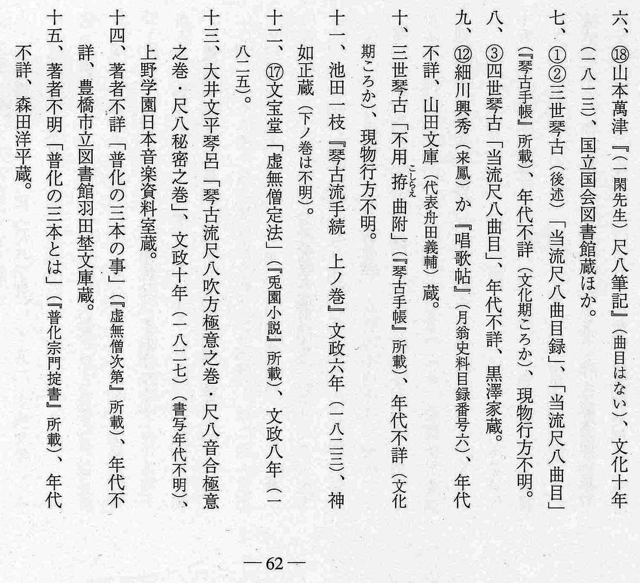 The Tsukitani Tsuneko shakuhachi kyoku list page 62, bottom