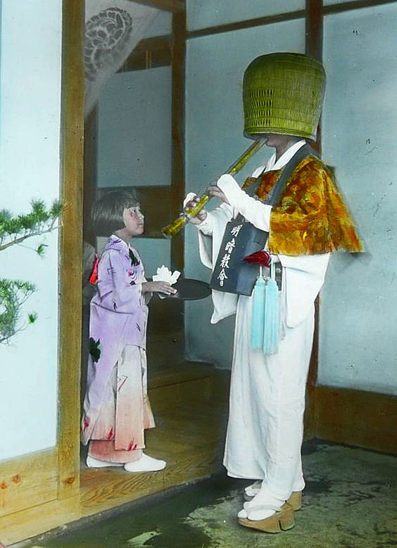 Hand-coloured komusō photograph by Nobukuni Enami, early 1900s