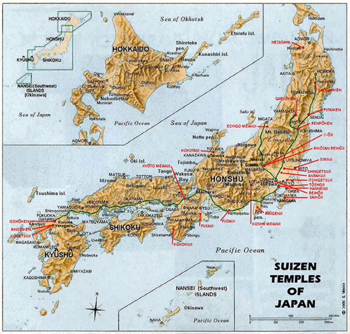 Map of 26 Fuke temples - late Tokugawa Period?