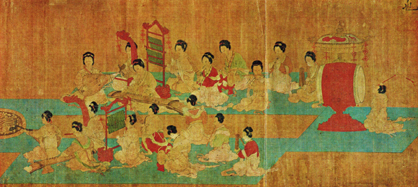 Female Chinese musicians performaing in the emperor's palace