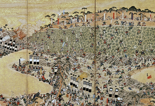 Folding screen depicting the rebellion at Shimabara